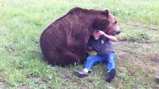 Grizzly Bear And His Trainer